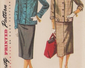 Simplicity 4871 // Vintage 50s Sewing Pattern // Skirt Jacket Suit // Size 14 Bust 32