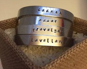 Lavellan/Cadash/Adaar/Trevelyan Inquisitor hand-stamped cuff bracelet (Dragon Age)