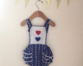Vintage Baby / Toddler Red, White, and Blue Hearts & Flowers Romper, size 18 months