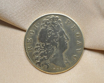 Authentic Antique Gold Toned Coin or Token with Face of King Louis XIV 1705