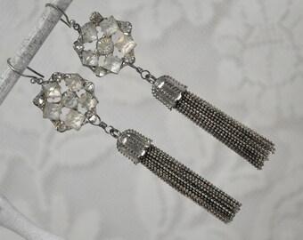 Snowflakes Falling / Vintage Assemblage Earrings with Handmade Tassels