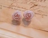 Lilac Rose Resin Flower plugs Gauges 2g, 4g O