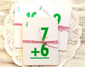Vintage Flash Cards / Green & White / Set of 5 / Christmas