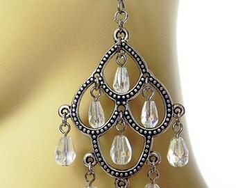 Earrings Silver Chandelier style Victorian Steampunk earrings with Czech crystals