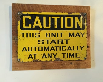 Caution Sign, Man Cave Sign, Man Cave Wall Decor, Reclaimed Wood, Wood Signs, Reclaimed Wood Sign, Man Cave Wall Art, Industrial Sign