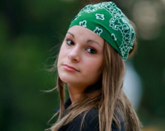 Hair Bandana Headband Hunter Green Bandanna Headband Hair Headwrap Dreadlock Accessories Womens Bandanna (#4029) S M L X