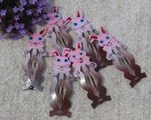Vintage Metal Children's Barrettes Bunny Rabbit Shapes, Lot of 6, Pink and Brown, NOS Cute