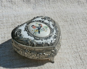 Vintage Japan Made Heart Shape Jewelry or Trinket Box with Birds on Top, Metal, Blue inside
