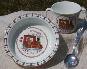Bear on Train, Vintage Children's Set Bone China Bowl and Handled Mug, Silver Plated Spoon