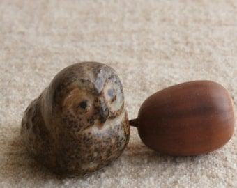 Stoneware Japan Owl Figurine, Vintage Miniature Realistic Looking