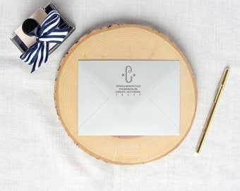 Single Initial Interwoven Monogram | Custom Return Address Stamp | Personalized Rubber Address Stamp | Wood or Self Inking Stamp | Wedding