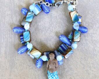 On Sale SALE Mermaid Bracelets Ceramic Mermaid Blue Green Czech Glass Nautical Ocean Colors Choose Quantity Summer Beach Jewelry