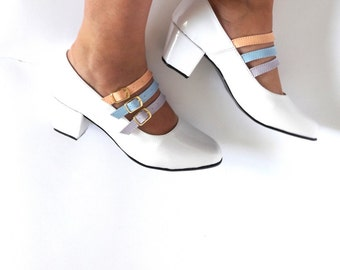 Biba Triple Multicolor Pastels Strap Faux Leather Mary Janes heels (Handmade to order)