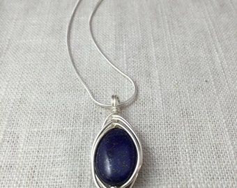 Lapis Lazuli Layering Necklace Wire Wrap Blue Stone Pendant