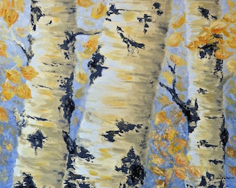 Fall Aspen Trees, Poster Art Print, Original Aspen Trees Painting,Aspen Trees Art, Golden Aspen Leaves, Aspen Trees,