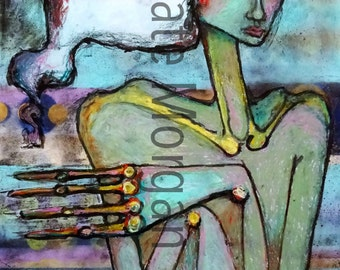 8x10 Bold Colorful Expressionist Female Portrait with Hands Fine Art Print