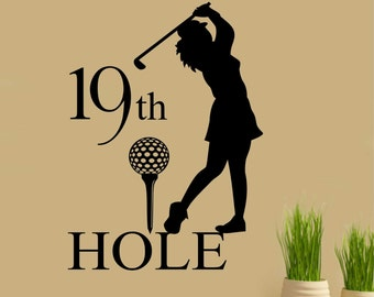 Golf 19th Hole, Lady Golfer, Vinyl Wall Lettering, Vinyl Wall Decals, Vinyl Lettering, Vinyl Letters, Wall Quotes, Sport Decal, Golf Decal
