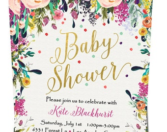 Baby Girl Shower Invitation - Watercolor Floral - Digital File