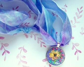 Embroidered Pendant - Sumflower Necklace - Boho Jewelry