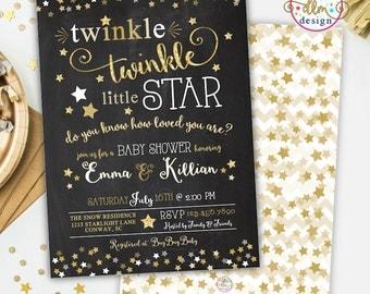 Twinkle Twinkle Little Star Baby Shower Invitation, Gender Neutral Invite, Twinkle Twinkle Shower Invite, Printable Invitation, Twinkles