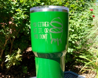 Custom Big Green Egg RTIC, YETI vacuum insulated tumbler, powder coated and laser engraved/etched, BGE