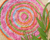 "rag rug, ""braided"" rug, crochet rug, round rug, Lilly Pulitzer bedding, rag rugs, kumari garden shabby chic, rainbow rug, nursery rug #45"