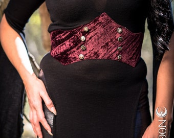 NEW: The Adjustable Velvet Waist Cincher in Burgundy Red by Opal Moon Designs (Size S/M or L/XL)