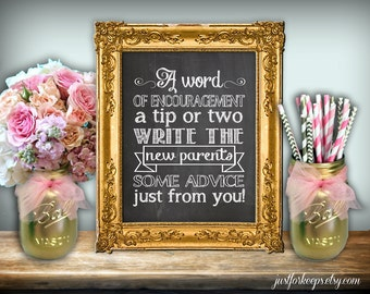 Baby Shower Advice Chalkboard Printable 8x10 PDF DIY Rustic Shabby Chic Woodland A Word Of Encouragement A Tip Or Two New Parents Advice