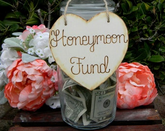 Wooden Heart Sign Wood Burned Engraved Rustic Sign Honeymoon Fund Sparklers Cards Bubbles Custom Wedding Sign Wedding Signage Heart Sign