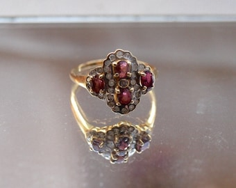 Vintage Diamond and Pink Tourmaline 14kt Solid Gold Ring Size 7