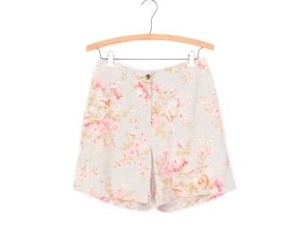 Vintage Shorts * Linen Shorts * 90s Floral Shorts * Medium