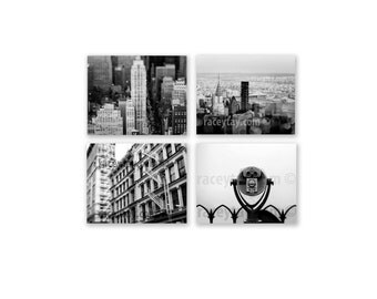 SALE, New York Photography, Set of 4 Prints, New York Prints, Black White Photos, New York City Prints, Manhattan Skyline Photos