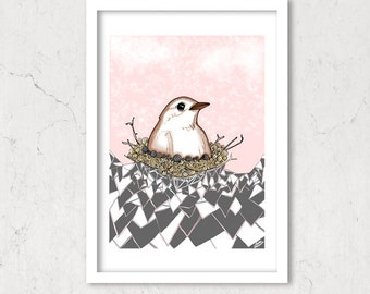 A Bird's Nest, Illustration Print