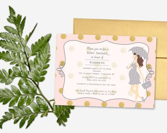 Baby Shower Invitation - Pink & Gold Polka Dots - Girl with Umbrella - Gender Neutral - DEPOSIT