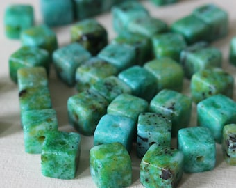 8mm Semi Precious Cube Beads - Crysocolla Dyed Jade - Jewelry Making Supplies - Choose Amount