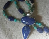Artist designed necklace with Lapis pendant and Turquoise long