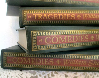 Four book set, Shakespeare, Tragedies and Comedies, Random House, 1944, beautiful condition, lovely gift, gilt and moss green
