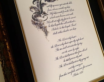 Psalm 121/King James Version/Print of Hand Lettered Original/Blue Ink/Old World Filigree Initial/8x10/paper only