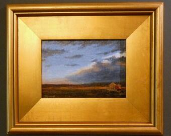 Cold Front_Original Oil Painting_Gold Leaf Wood Frame_ Landscape_ Pochade Box Painting_Alla Prima Study_En Plein Air