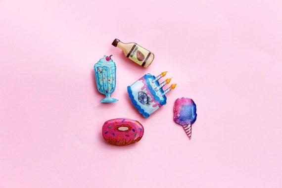 Super Cute Glittery Hand Drawn Shrink Plastic Brooches - Group C