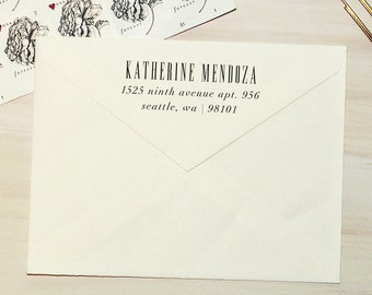 Return Address Stamp - Style #29, Wood Mounted or Self-Inking Stamp, Gift for Men, Gift for Her, Personalized Stamp, Custom Stamp