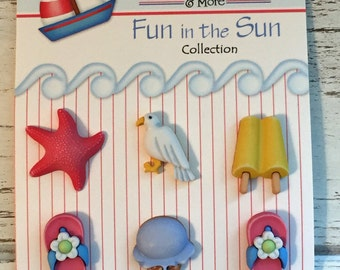 "Beach Theme Buttons, Fun in the Sun ""Life's a Beach"" by Buttons Galore, Carded Buttons, Set of 6, Flip Flops, Ice Cream, Starfish"
