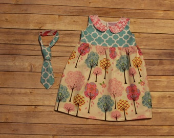 spring trees aqua quatrefoil Boutique Peter Pan Collar Jumper and matching boy tie, sizes 1-9, easter girls dress