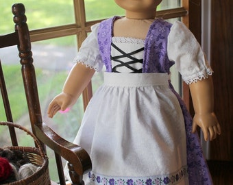 Kirsten's Lilac Maria Dress with Half Apron -Ready to Ship