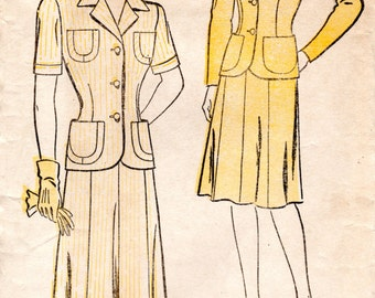 1940s Fitted Suit Pattern - Vintage New York 596 - Bust 32