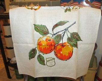 Vintage Linen Home Beautiful Kitchen Towel Apples NOS