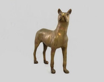 Vintage - Figurine - Doorstop - Great Dane - Cast Metal Brass