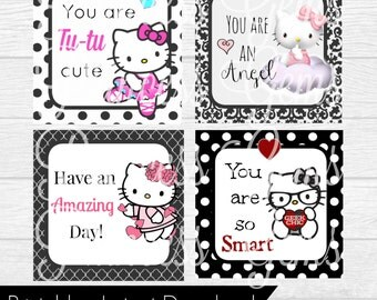 Lunchbox Kitty Notes - PRINTABLE - INSTANT DOWNLOAD