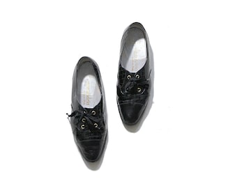 sale Vintage Leather Oxfords 8.5 / Black Leather Oxfords / Patent Leather Brogues