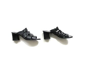 Vintage Leather Slides 9 / Black Leather Sandals / Slip On Sandals / Leather Mules